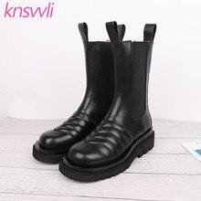 Новинка; черные ботинки «Челси» из натуральной гофрированной кожи на толстой подошве; женские полусапожки на платформе с круглым носком; женские повседневные ботинки для езды на мотоцикле
