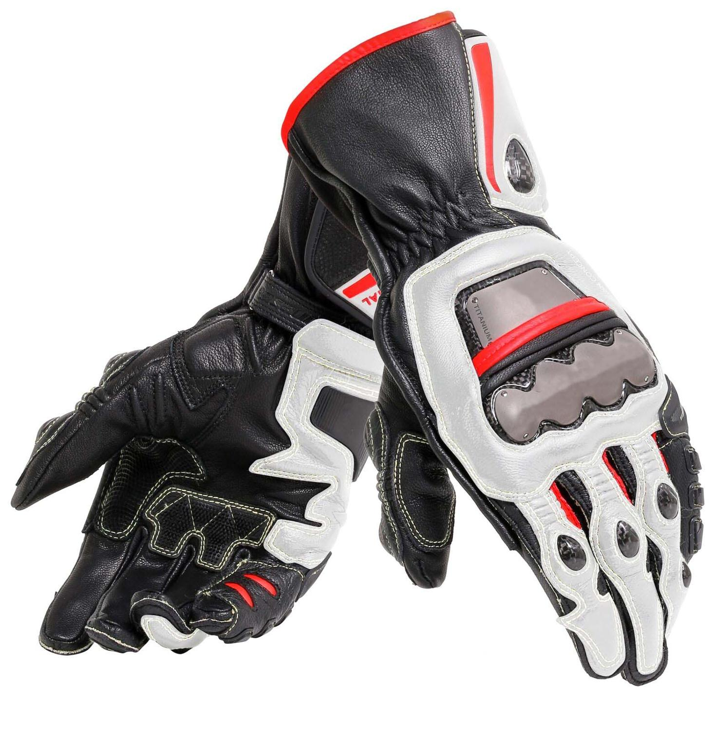 New 4 Colors 100% Genuine Leather Dain Full Metal 6 Motorcycle Gloves Racing Long Gloves Driving Motorbike Cowhide Gloves