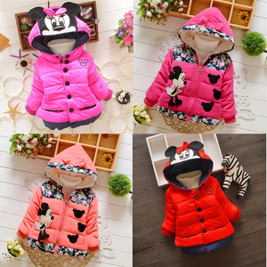 Children's winter plus velvet hooded warm jacket girl Minnie style cartoon long-sleeved warm jacket(China)