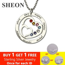 SHEON Heart in Heart Birthstone Family Necklace Names Engraved Personalized 925 Sterling Silver Mother Necklaces Women Jewelry personalized necklaces 925 sterling silver engraved necklaces diy personalized jewelry family children mother pendants necklace