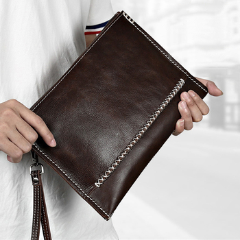 Men Business Vintage Crazy Horse Leather Men Envelope Clutch Bags Casual Large Capacity Hand Bags for Male Bag Leather IPAD Bags