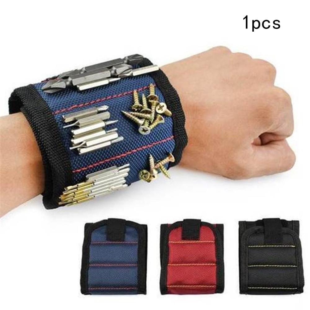 Magnetic Wristband Portable Tool Bag Magnet Electrician Wrist Tool Belt Screws Nails Drill Bits Bracelet For Repair Tool