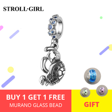 New arrival 100% 925 Sterling Silver Small tortoise Charm Bead with cubic zircon Fit original Bracelet Jewelry DIY for gifts