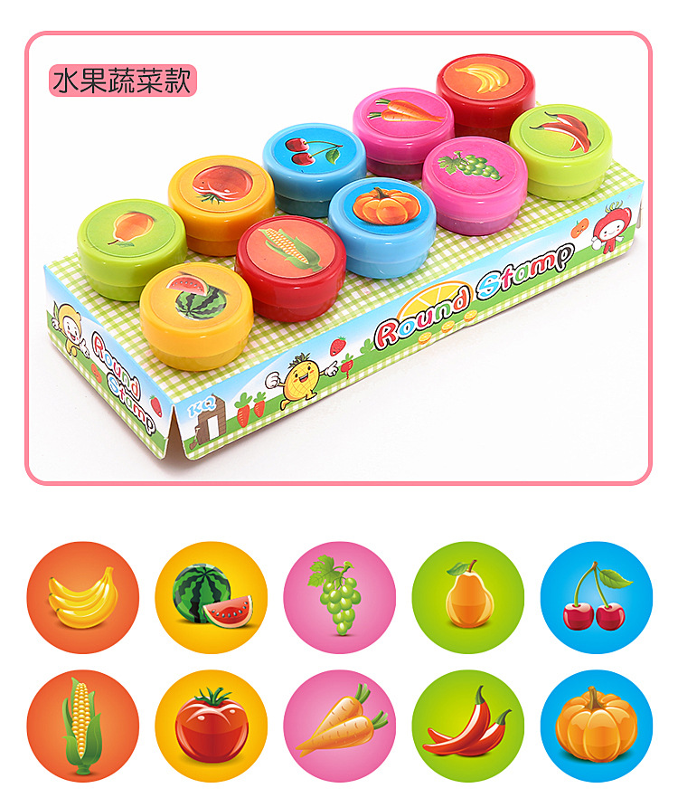 3//6 Pcs Mini Cute Cartoon Image Stamps Seals Kids DIY Painting Drawing Tool Toys