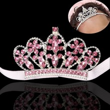 Baby Girls Crystal Princess Crown Cute Rhinestone Tiara Toddler Hairband Headband Birthday Party Accessories(China)