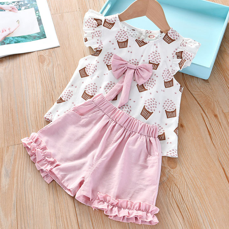 H316fa7f0646948d89333367a57ca4031w Humor Bear Girls Clothing Set 2020 Korean Summer New Ice Cream Bow T-shirt+Pants Kids Suit Toddler Baby Children's Clothes