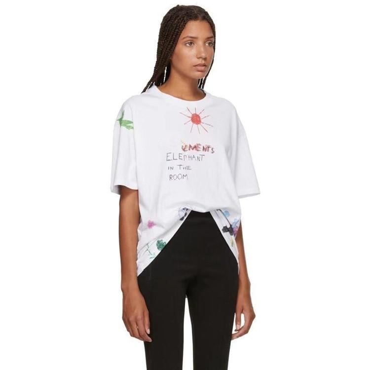 2020 Spring Summer Sun Cartoon Graffiti Print Unisex Women Men Loose Short Sleeve T-shirt