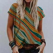 Kadın desen baskı T-Shirt 2021 yaz O boyun kısa kollu kazak üstleri bayanlar 2XL moda seksi Streetwear Vintage
