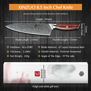 Image 2 - Xinzuo 8.5 Inch Koksmes Japanse VG10 Damascus Keukenmessen Roestvrij Staal Snijden Vlees Koken Mes Palissander Handvat