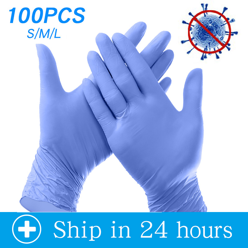 100PCS Disposable Nitrile Gloves For Food Cooking Household Cleaning Industrial Disposable Working Safety Gloves 3mm 50 Pairs