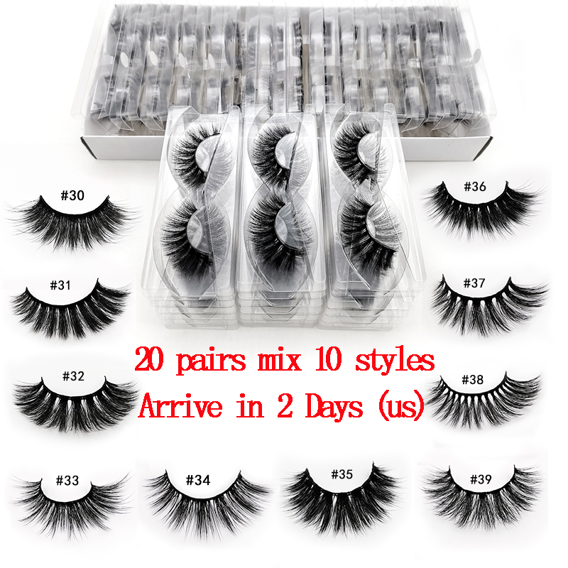 New 20 PCS Lashes In Bulk Mix 3d Mink Lashes Wholesale Eyelashes Natural Mink Eyelashes Wholesale False Eyelashes Makeup Lashes