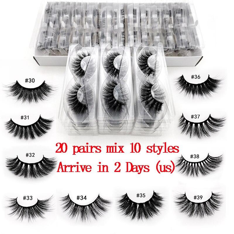 New 20 PCS Lashes In Bulk Mix 3d Mink Lashes Wholesale Eyelashes Natural Mink Eyelashes Wholesale False Eyelashes Makeup Lashes