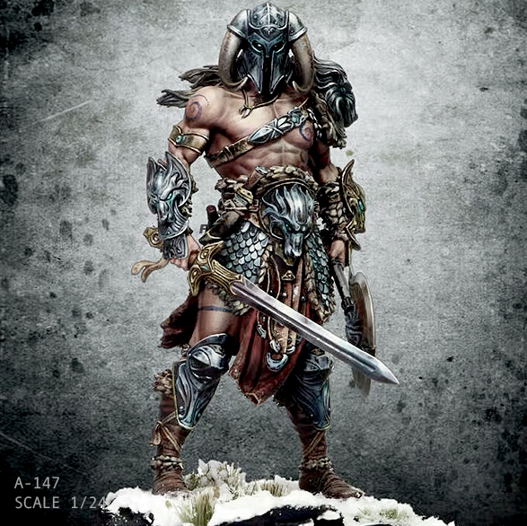 1/24 75MM Resin Figure Kits Nordic Dragon Slayer (Double Head) Self-assembled A-147