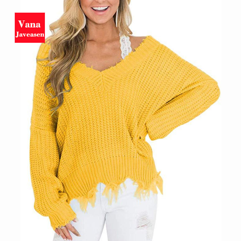 Vana Javeasen Off The Shoulder Autumn Sweater For Women Fringe Distressed Knitted Female Tops Long Sleeve Pullover Sweaters