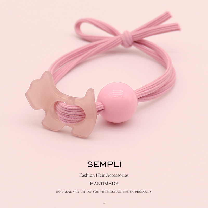 Sempli 5 Colors Shining Puppy Dog Schnauzer With Bead Girls Women Elastic Hair Band Kid Children Rubber Band High Elasticity