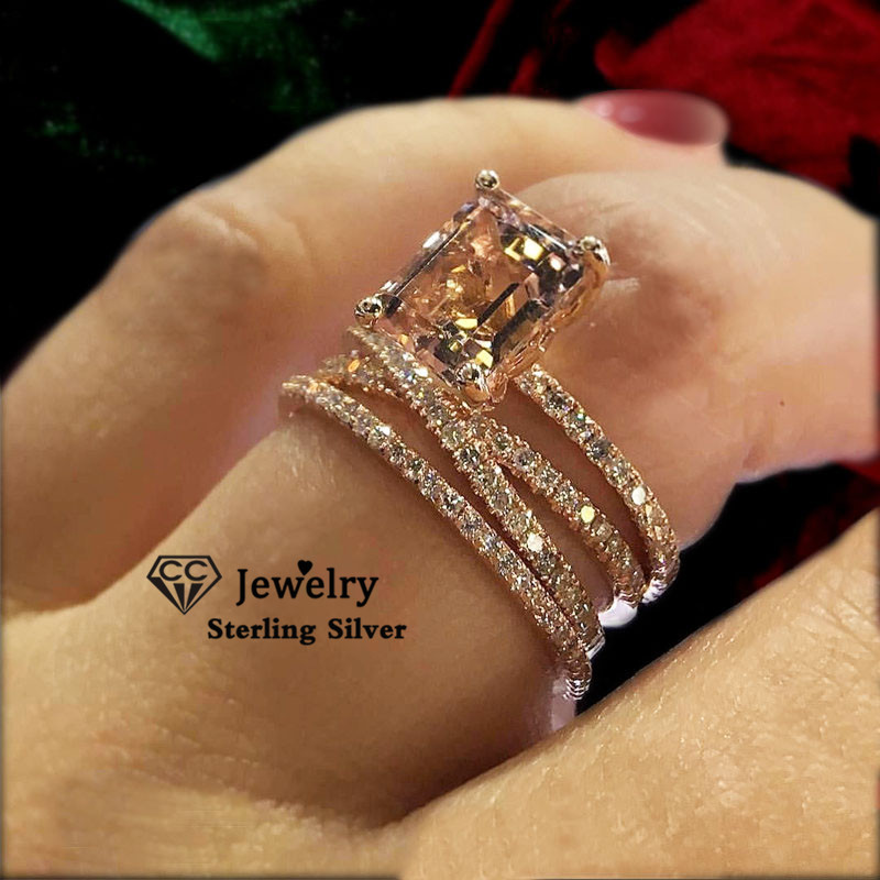 CC Wedding Rings For Women Luxury Jewelry Bridal Engagement Cubic Zirconia Ring Rose Gold Color Accessories Drop Shipping CC2280 1
