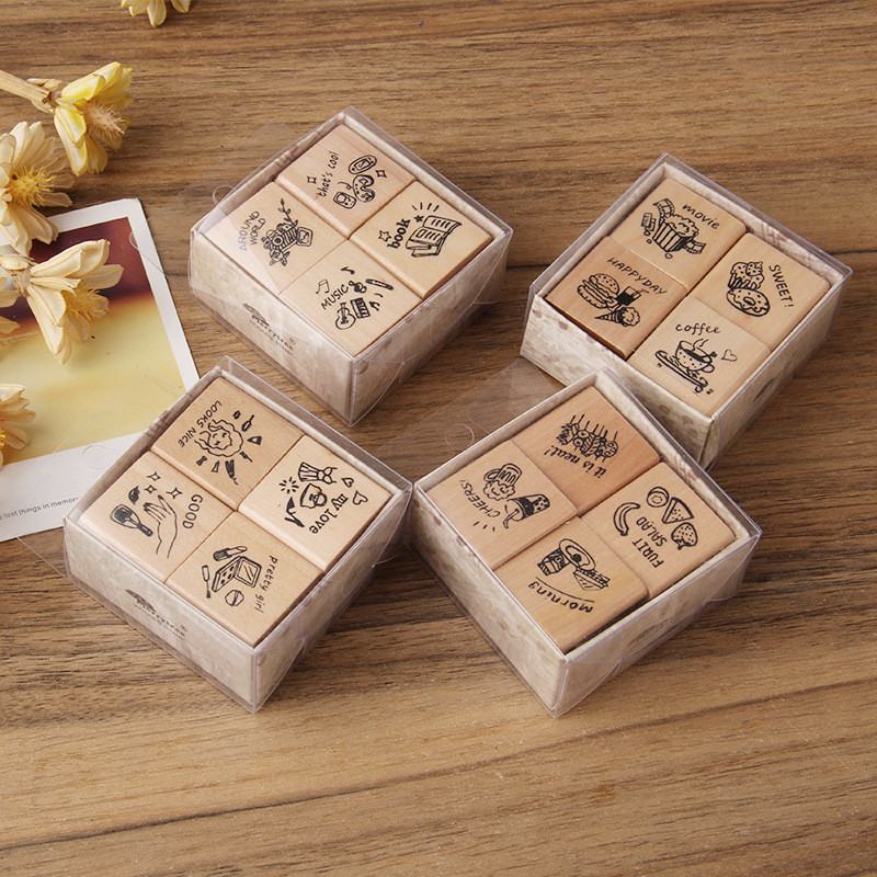 4 Pcs/lot Music Food Book Decoration Stamp Wooden Rubber English Stamps For Scrapbooking Stationery DIY Craft Standard Seal