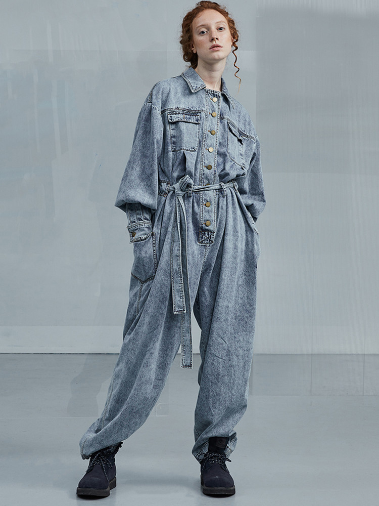 Original Design AIGYPTOS Spring Summer Women Brief Handsome Vintage Denim Jumpsuit Casual Loose Cotton Denim Overalls Romper