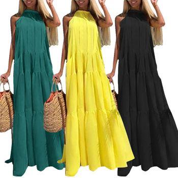 ZANZEA 2020 Hollow Ruffle Dress Fashion Woman Summer Sundress Casual Maxi Vestidos Female Sleeveless Halter Neck Robe Plus Size plus tie neck lace insert ruffle botanical dress