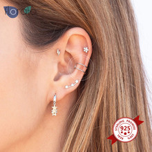 1PC 925 Sterling Silver Fashion Geometric Clip-On Earrings Prevent Allregy Ear Clip Jewelry For European And American Women