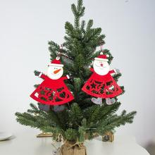 New Year DIY Christmas Tree Pendant Xmas Decoration Letter Print hollowing out Santa Snowman Wooden