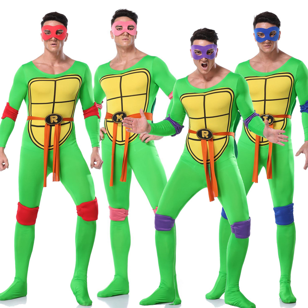 Anime Ninja Turtle Warrior Costume Adult Men Halloween Green Ninja Costume Cosplay Outfit With Turtle Shell Belt Carnival Fancy Party Uniform Canival Costume