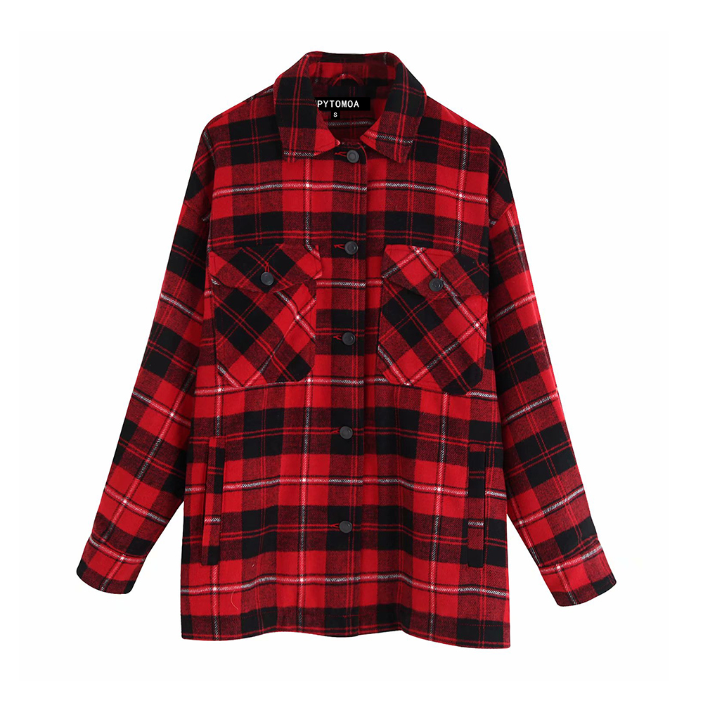 H3170b18167d24acab88ea92a0af670f5T Vintage Stylish Pockets Oversized Plaid Jacket Coat Women 2019 Fashion Lapel Collar Long Sleeve Loose Outerwear Chic Tops