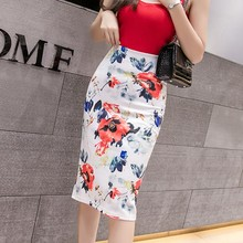 Female Pencil Floral Print Slit Mid-Calf Midi Skirt Women Casual High Waist Skirts Empire Waistline