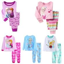 Pijamas para niñas, ropa de dormir de princesa Anna y Elsa, conjunto de ropa de dibujos animados para bebés, pijamas de manga larga, disfraz para el hogar