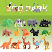legoily duploed Animals hot Jurassic Dinosaur World series Big Large particle building blocks brick Toys For childrens Kids gift