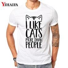 T-Shirt Men Women 3D Print Harajuku Funny Letter Cat Graphic Tees Casual Unisex Streetwear Summer Tops White Tee Shirts цена 2017
