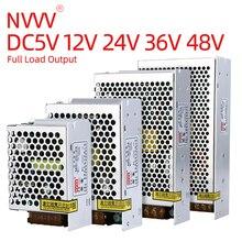NVVV zasilacz Mini MS-15w-350w AC 110v/220v DC 5v 12v 24v 36v 48v Monitor bezpieczeństwa źródło prądu stałego zasilacz