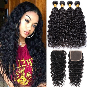Image 1 - Jaycee Brazilian Water Wave Bundles With Closure Wet And Wavy Human Hair Bundles With Closure 3 Bundles With Closure Hair Weave