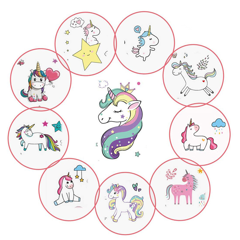Fun Art Cartoon Rainbow Unicorn Temporary Tattoos Stickers Set For Kids Waterproof Tattoos Sticker For Children Birthday Party