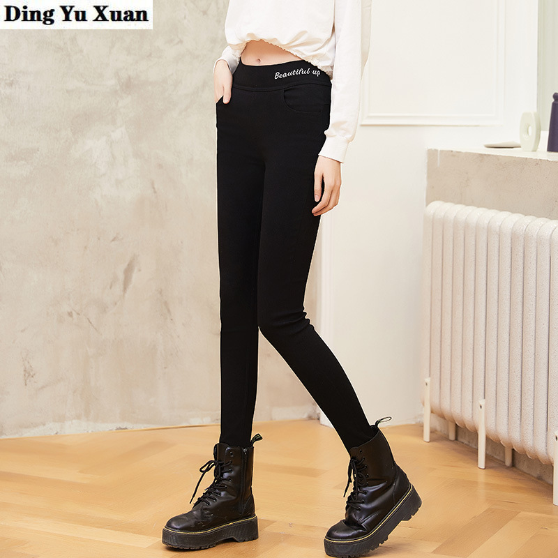 <font><b>4XL</b></font> 5XL 6XL Plus Size High Waist Leggings Women Letter Print Casual Pants Women Spring Black <font><b>Pantalones</b></font> Strechy Leggins <font><b>Mujer</b></font> image