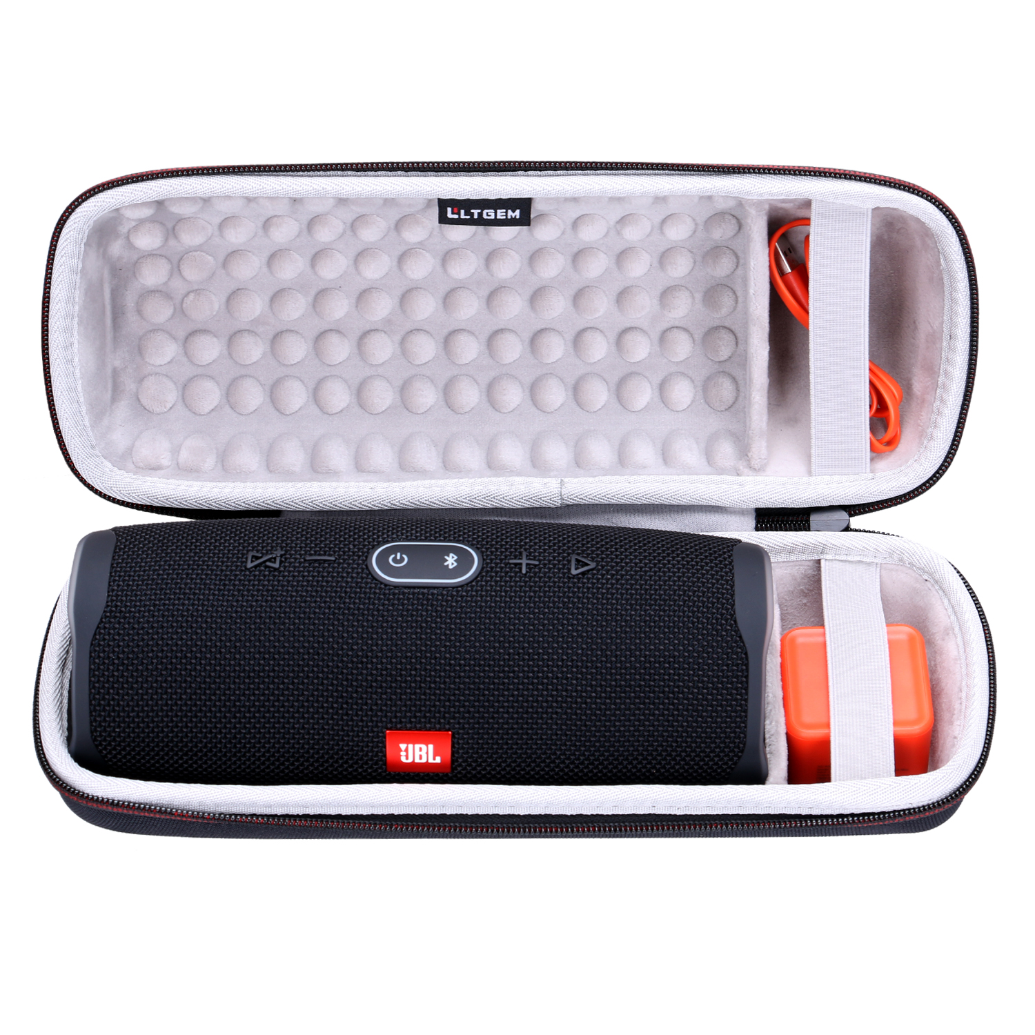 Ltgem Case For JBL Charge 4 Portable Hard Wireless Bluetooth Speaker Fits USB Cable And Charger Black Gray White Storage Case
