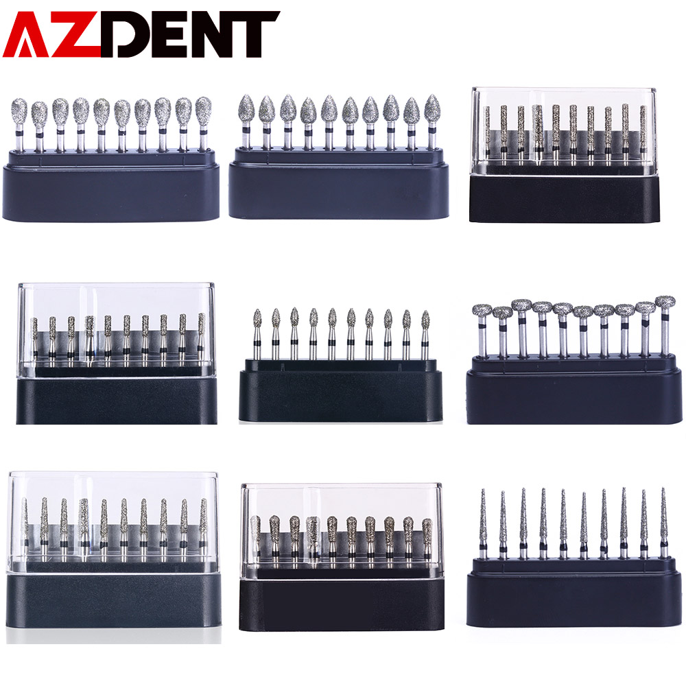 AZDENT 10 Pcs/set Dental Diamond Burs Drills High Speed Handpiece Polishing Whitening Product TC-11S  Dental High Speed Burs