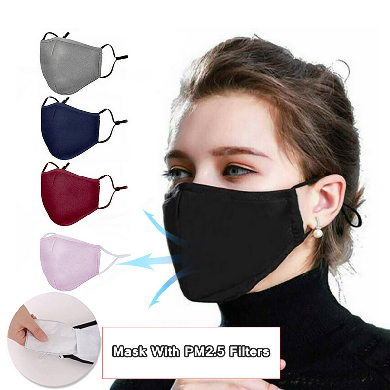 Reusable Face Mask PM2.5 Filter Washable Cloth Cotton Mask Anti-dust Breathing Activated Carbon Respirator Protective Mouth Mask