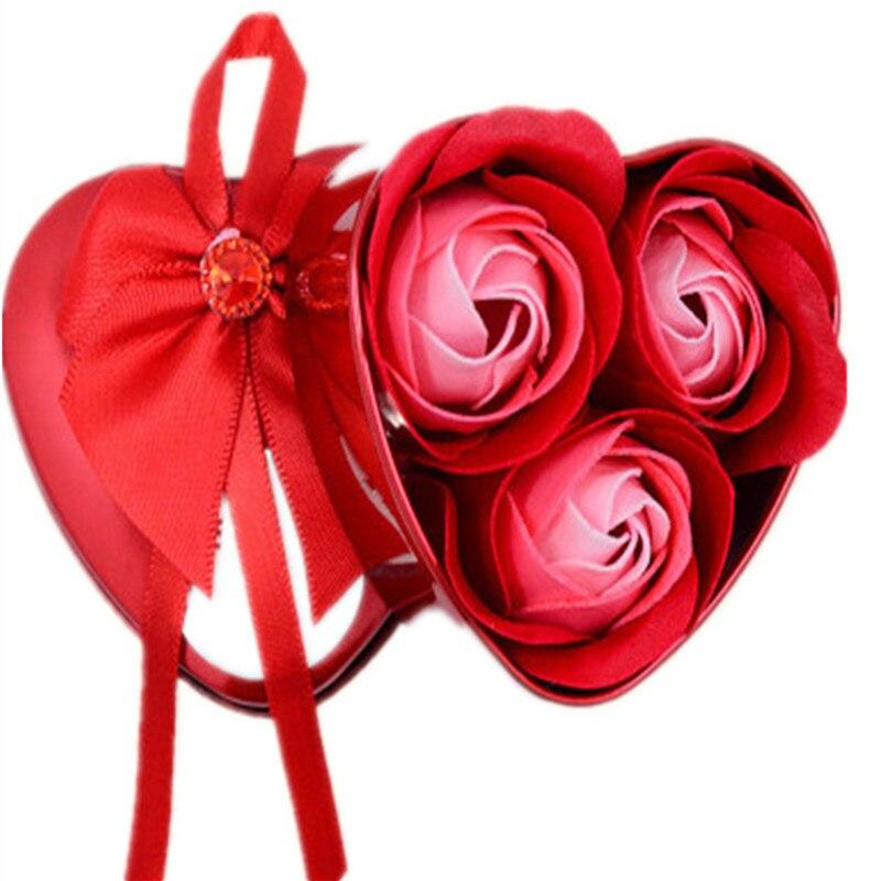 3Pcs Heart Scented Bath Body Petal Rose Flower Soap Wedding Decoration Gift Best 2019 New Flower For Bathroom