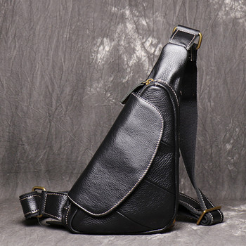 NEW Genuine Leather Men Chest Bag Fashion Crossbody Bag Men Triangle Messenger Bags Cow Leather Travel Business Pack mynos new cow leather crossbody bag for men travel handbag men genuine leather messenger bag for men black men shoulder bag