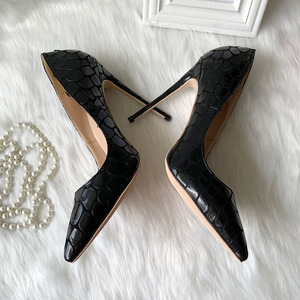 Image 4 - 2019 new style Factory wholesale black petal pointed toe perform walking show women lady hot sale 120mm block high heel autumn