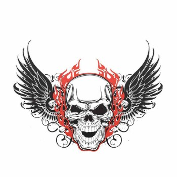 Hot Skull Wing Cartoon Graffiti Car Sticker and Decal Bumper Motorcycle for Bmw E46 Cover Scratches Auto Accessories KK13*10cm image