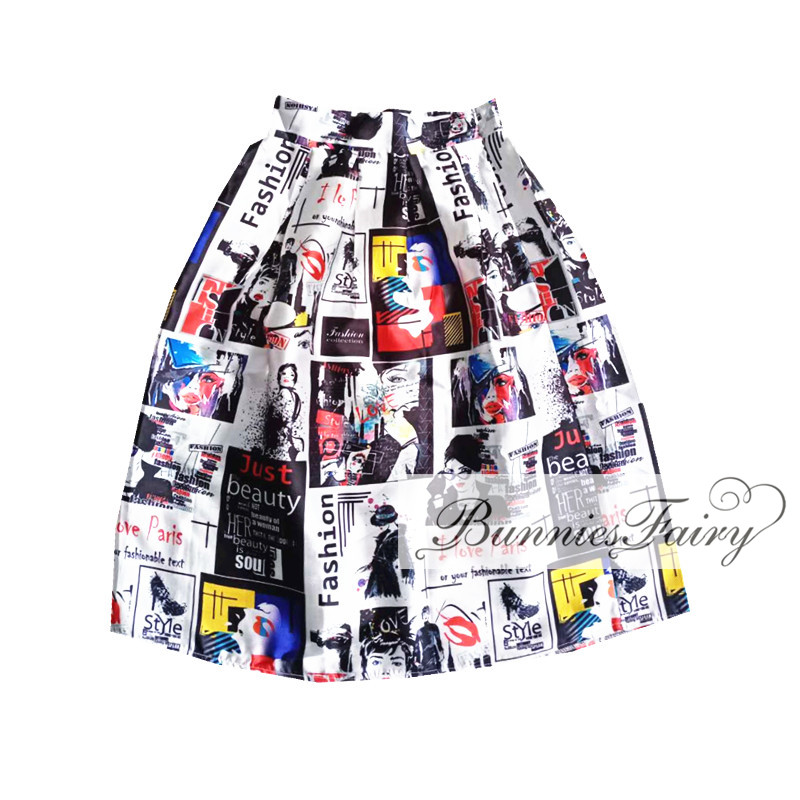 Vintage Retro Lady Newspaper Print High Waist Pleated Flare Midi Skirt 17