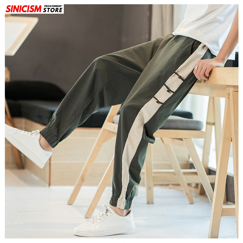 Sinicism Store Men Side Striped Summer Harem Pants Mens 2020 Vintage Trousers Male Oversized Chinese Style Pants Clothing News