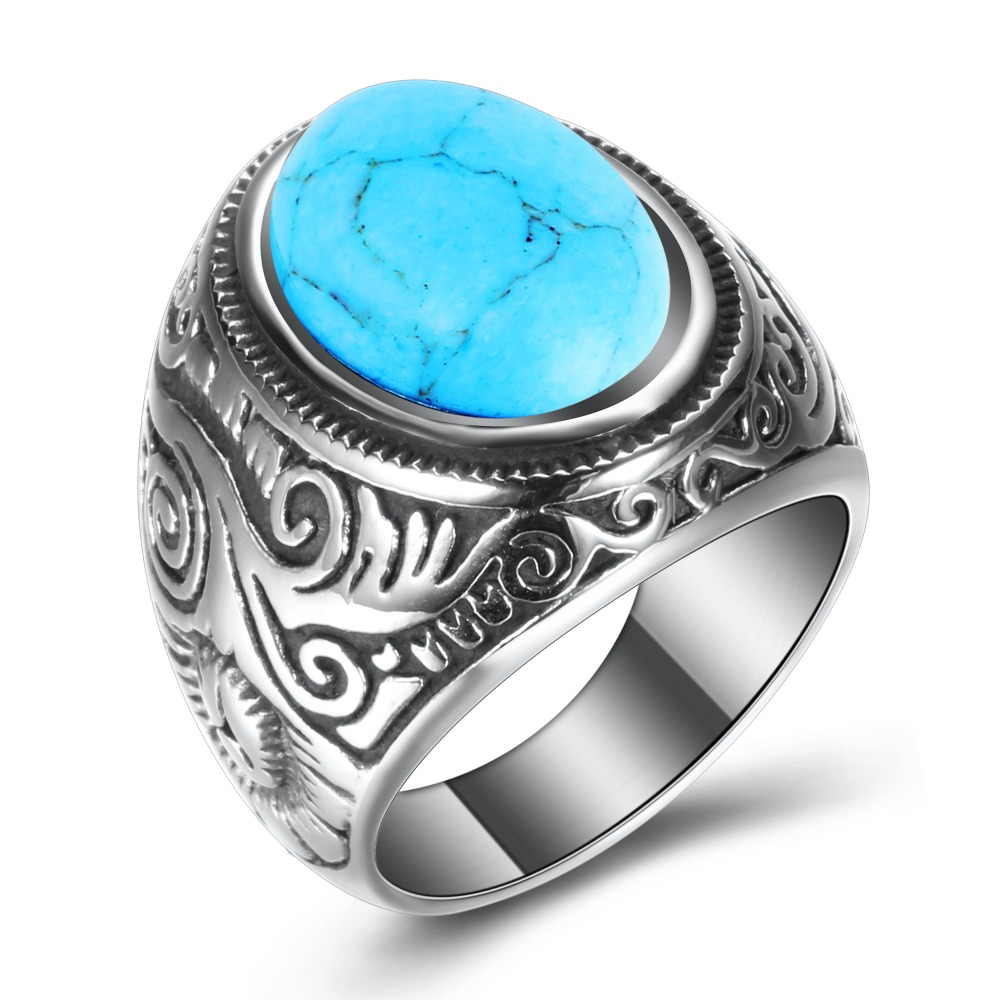 Wholesale Retro Jewelry Stone Rings For Men Titanium Steel Inlaid Three Colors Onyx Ring Men Domineering Opal Ring 4