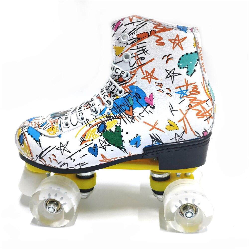 Graffiti microfibre patins à roulettes Double ligne patins femmes hommes adulte deux lignes chaussures de patinage avec blanc PU 4 roues entraînement - 5