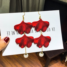 DREJEW Cute Red Rose Flower Tassel Pearl Statement Earrings 2019 925 Alloy Drop for Women Wedding Fashion Jewelry E6941