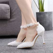 Lacelace Stiletto Pointed Toe Heels 9CM Wedding Shoes Bride White High Heels Elegant Dress Women for Wedding Party Pink Heels pointed toe high heels new arrival white pearl wedding shoes mother of the bride shoes rhinestone comfortable performance shoes