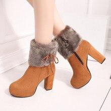 Nieuwe 2020 Winter Schoenen Vrouwen Hoge Hakken Laarzen Bont Warme Laarzen Voor Vrouwen Winter Hoge Hakken Super Vierkante Hoge Hak 10Cm YX1658