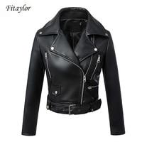 Fitaylor Black Faux Leather Jacket Women Spring Autumn Short Soft Pu Leather Jackets With Belt Zipper Moto Biker Coat